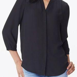 NYDJ Black Pintuck Blouse Size Small